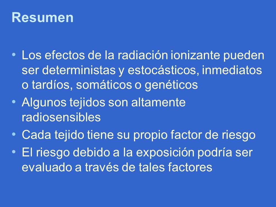 Resumen Los efectos de la radiación ionizante pueden ser deterministas y estocásticos, inmediatos o tardíos, somáticos o genéticos Algunos tejidos son
