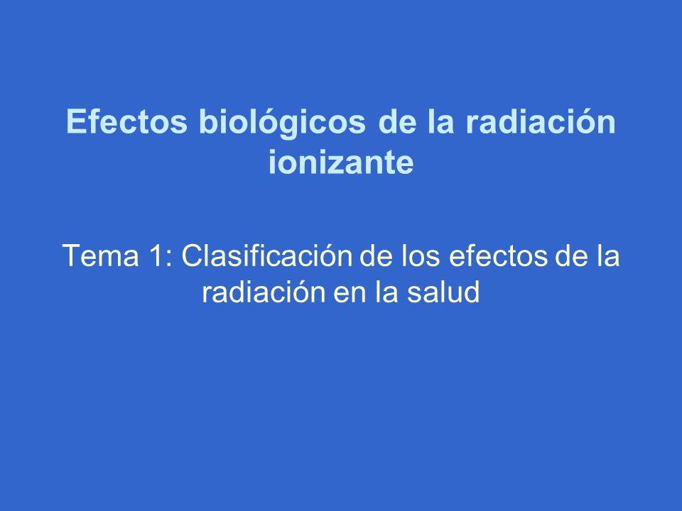 Efectos biológicos de la radiación ionizante Tema 1: Clasificación de los efectos de la radiación en la salud