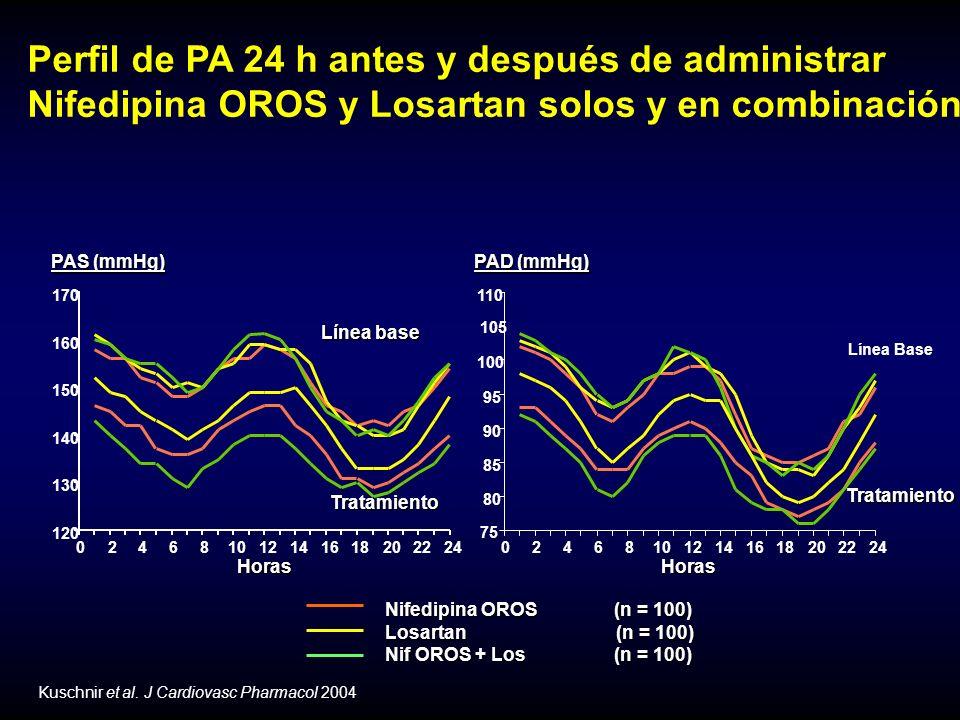 Perfil de PA 24 h antes y después de administrar Nifedipina OROS y Losartan solos y en combinación Nifedipina OROS (n = 100) Nifedipina OROS (n = 100) Losartan (n = 100) Losartan (n = 100) Nif OROS + Los(n = 100) Nif OROS + Los(n = 100) Kuschnir et al.