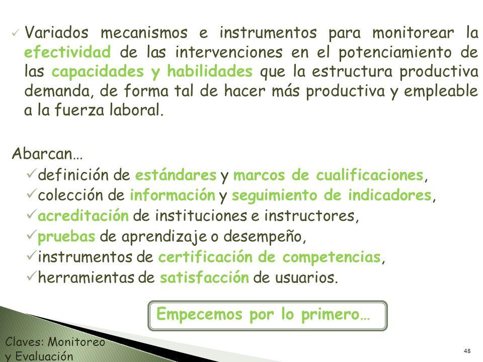 Variados mecanismos e instrumentos para monitorear la efectividad de las intervenciones en el potenciamiento de las capacidades y habilidades que la e