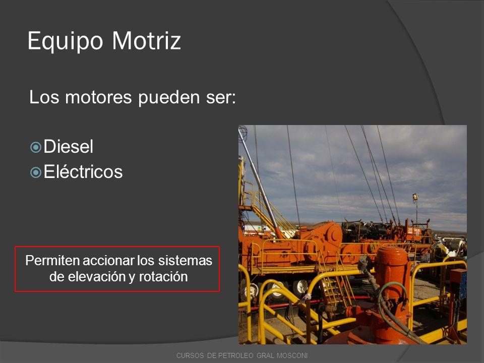 Equipo Motriz Los motores pueden ser: Diesel Eléctricos Permiten accionar los sistemas de elevación y rotación CURSOS DE PETROLEO GRAL MOSCONI
