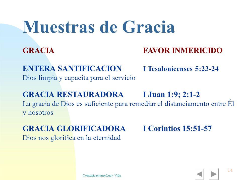 Comunicacionse Luz y Vida 14 GRACIA GLORIFICADORAI Corintios 15:51-57 Dios nos glorifica en la eternidad GRACIAFAVOR INMERICIDO GRACIA RESTAURADORAI J