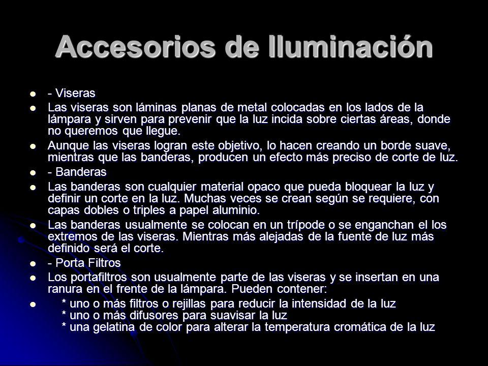Accesorios de Iluminación - Viseras - Viseras Las viseras son láminas planas de metal colocadas en los lados de la lámpara y sirven para prevenir que
