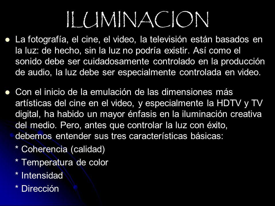 La fotografía, el cine, el video, la televisión están basados en la luz: de hecho, sin la luz no podría existir. Así como el sonido debe ser cuidadosa