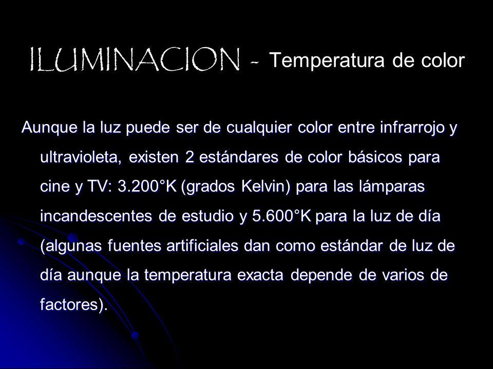 Aunque la luz puede ser de cualquier color entre infrarrojo y ultravioleta, existen 2 estándares de color básicos para cine y TV: 3.200°K (grados Kelv