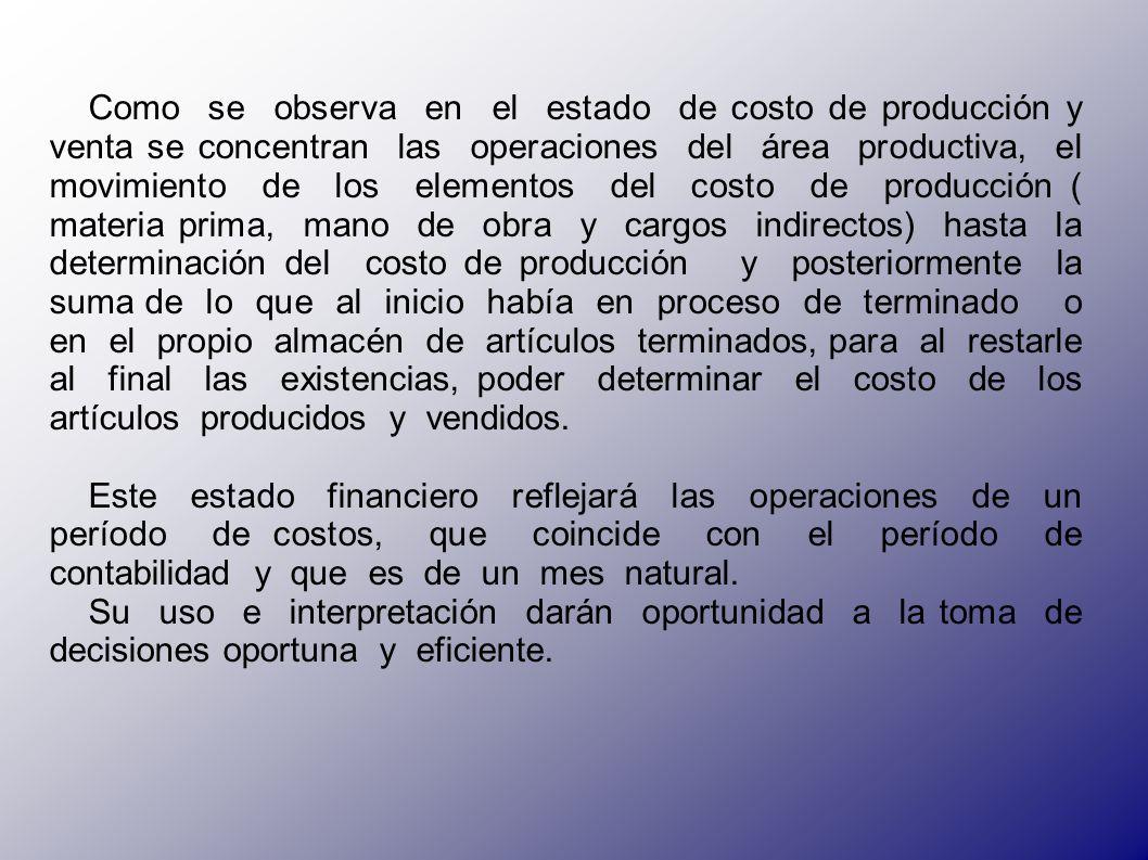 Bibliografía: (1)García, Colín Juan, Contabilidad de Costos.