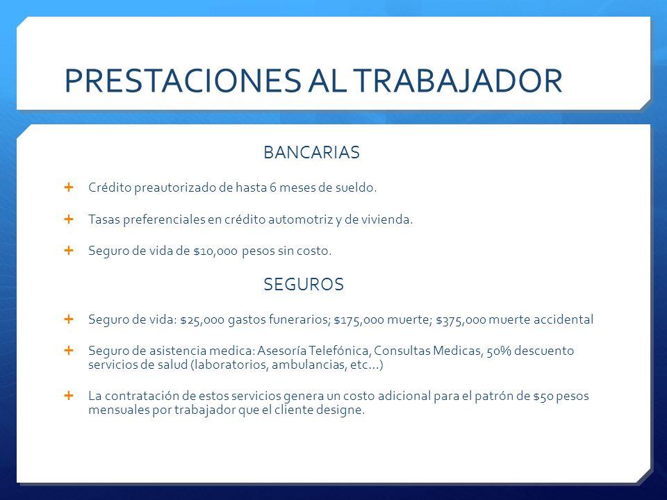 PRESTACIONES AL TRABAJADOR BANCARIAS Crédito preautorizado de hasta 6 meses de sueldo. Tasas preferenciales en crédito automotriz y de vivienda. Segur