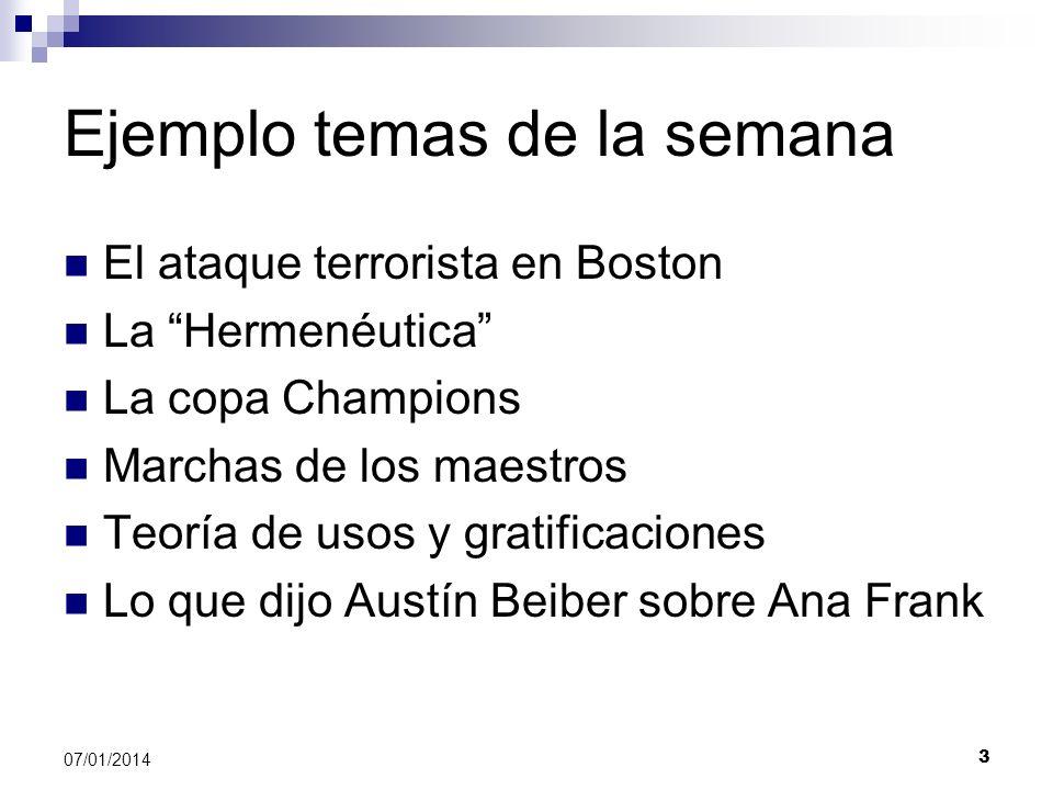 Ejemplo temas de la semana El ataque terrorista en Boston La Hermenéutica La copa Champions Marchas de los maestros Teoría de usos y gratificaciones L