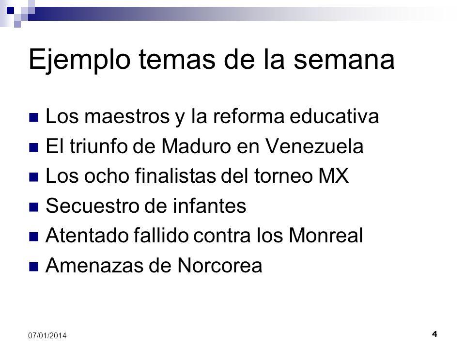 Ejemplo temas de la semana Los maestros y la reforma educativa El triunfo de Maduro en Venezuela Los ocho finalistas del torneo MX Secuestro de infant