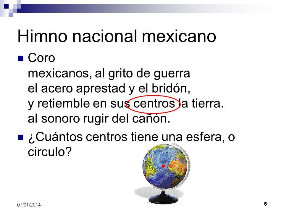 Himno nacional mexicano Coro mexicanos, al grito de guerra el acero aprestad y el bridón, y retiemble en sus centros la tierra. al sonoro rugir del ca