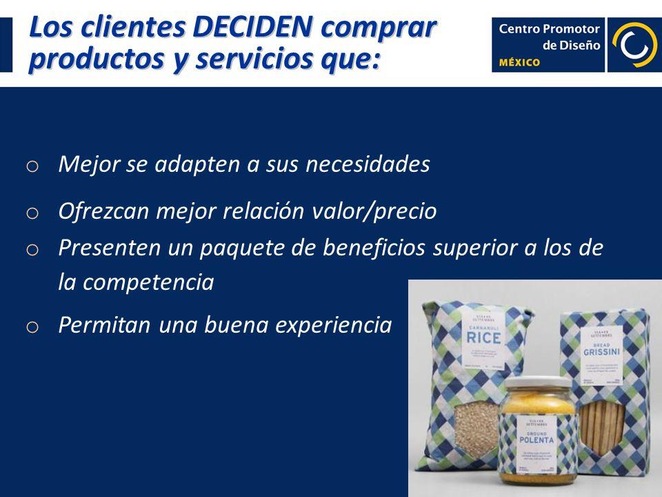 Los clientes DECIDEN comprar productos y servicios que: o Mejor se adapten a sus necesidades o Ofrezcan mejor relación valor/precio o Presenten un paq