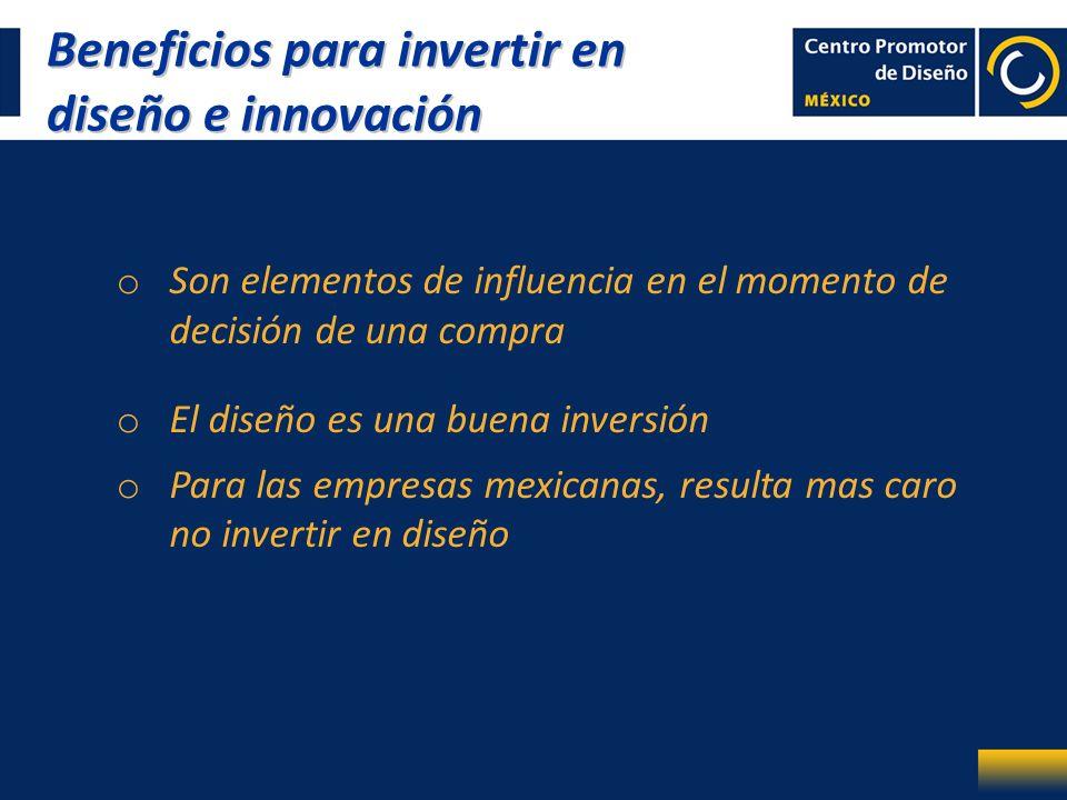 o Son elementos de influencia en el momento de decisión de una compra o El diseño es una buena inversión o Para las empresas mexicanas, resulta mas ca