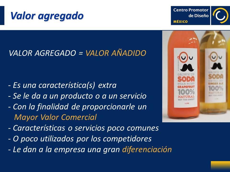 Valor agregado VALOR AGREGADO = VALOR AÑADIDO - Es una característica(s) extra - Se le da a un producto o a un servicio - Con la finalidad de proporci