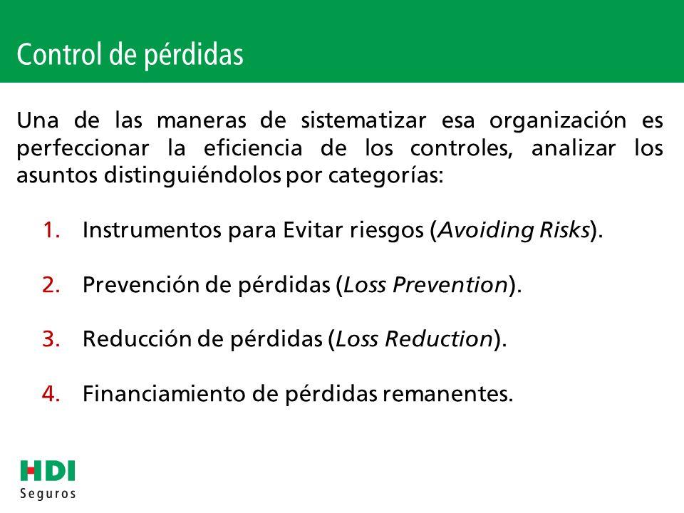 Ejemplos y recomendaciones relacionadas a las actividades de prevención de pérdidas Promoción de capacitación de conducción defensiva cuando la organización opera con transportes y circulación de vehículos.