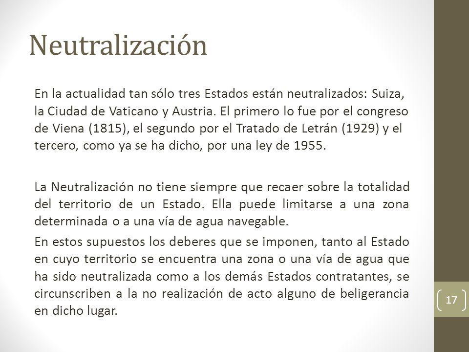 Neutralización En la actualidad tan sólo tres Estados están neutralizados: Suiza, la Ciudad de Vaticano y Austria. El primero lo fue por el congreso d