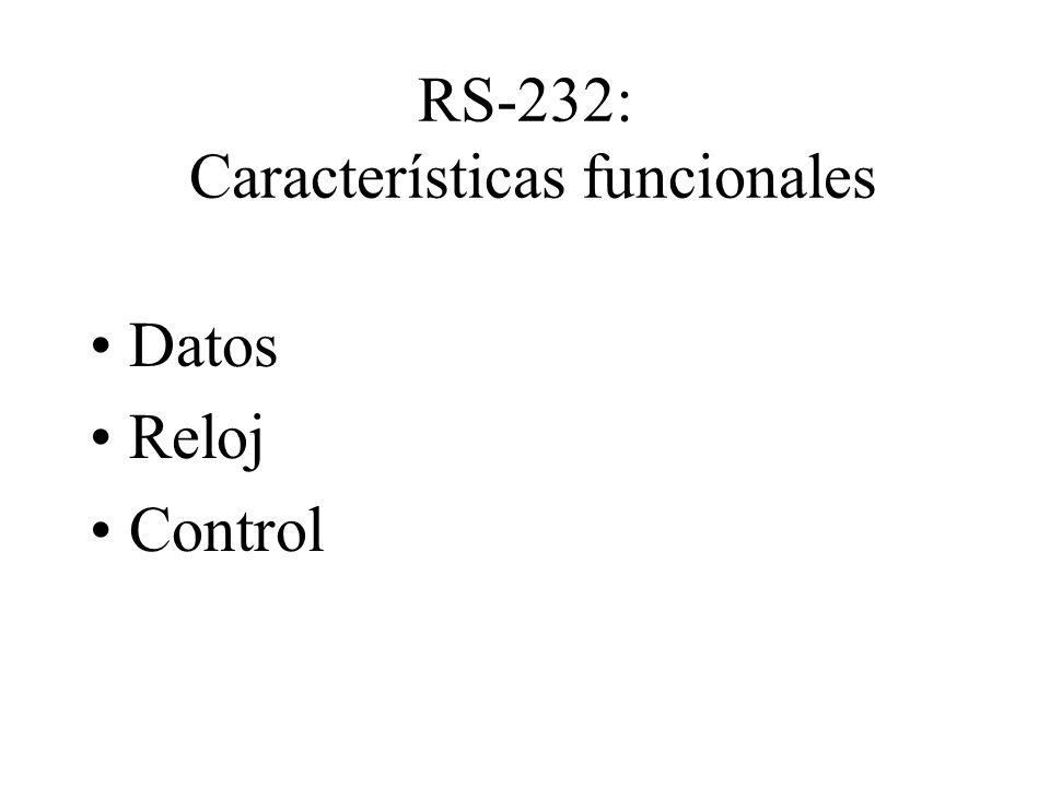 RS-232: Características funcionales Datos Reloj Control