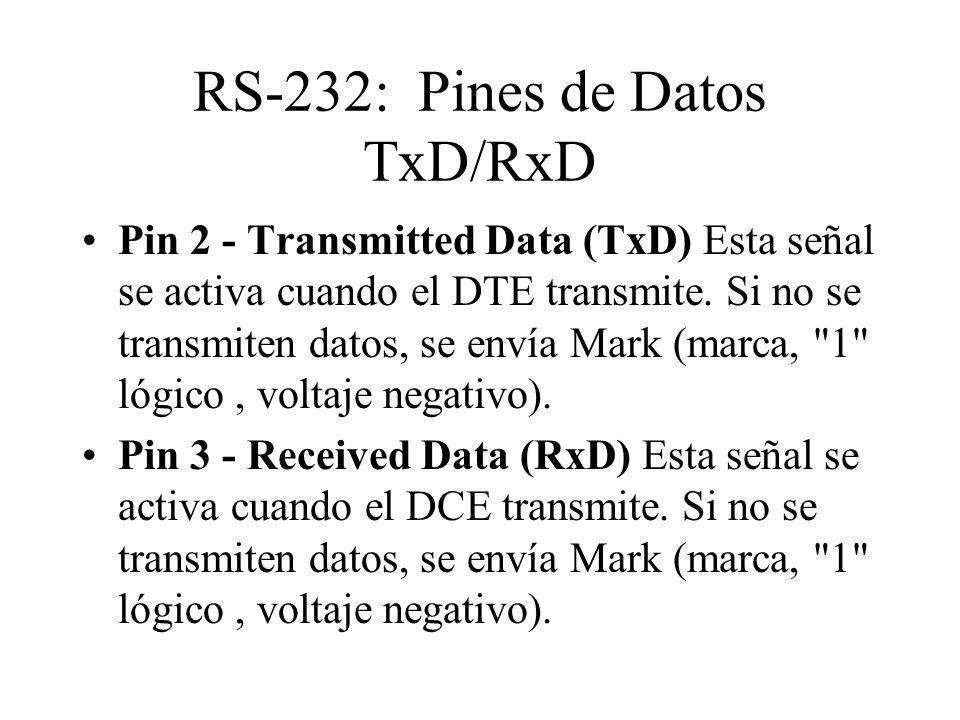 RS-232: Pines de Datos TxD/RxD Pin 2 - Transmitted Data (TxD) Esta señal se activa cuando el DTE transmite. Si no se transmiten datos, se envía Mark (