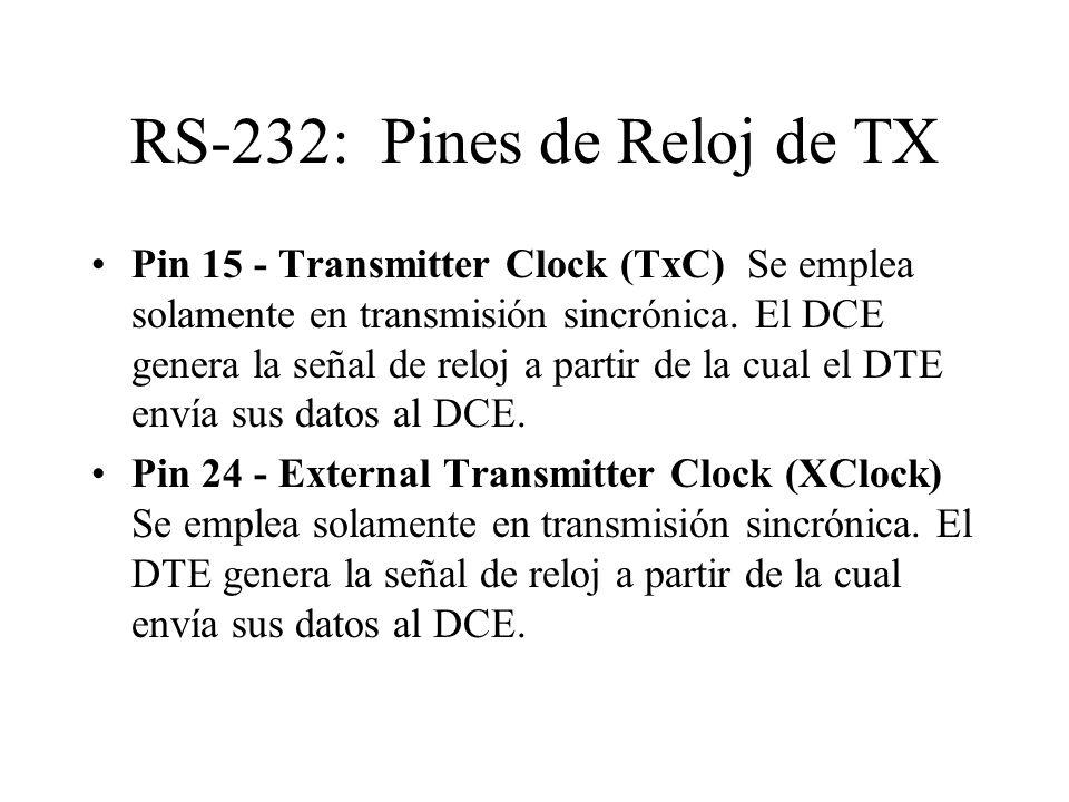 RS-232: Pines de Reloj de TX Pin 15 - Transmitter Clock (TxC) Se emplea solamente en transmisión sincrónica. El DCE genera la señal de reloj a partir