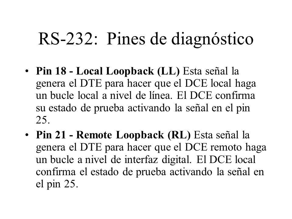RS-232: Pines de diagnóstico Pin 18 - Local Loopback (LL) Esta señal la genera el DTE para hacer que el DCE local haga un bucle local a nivel de línea