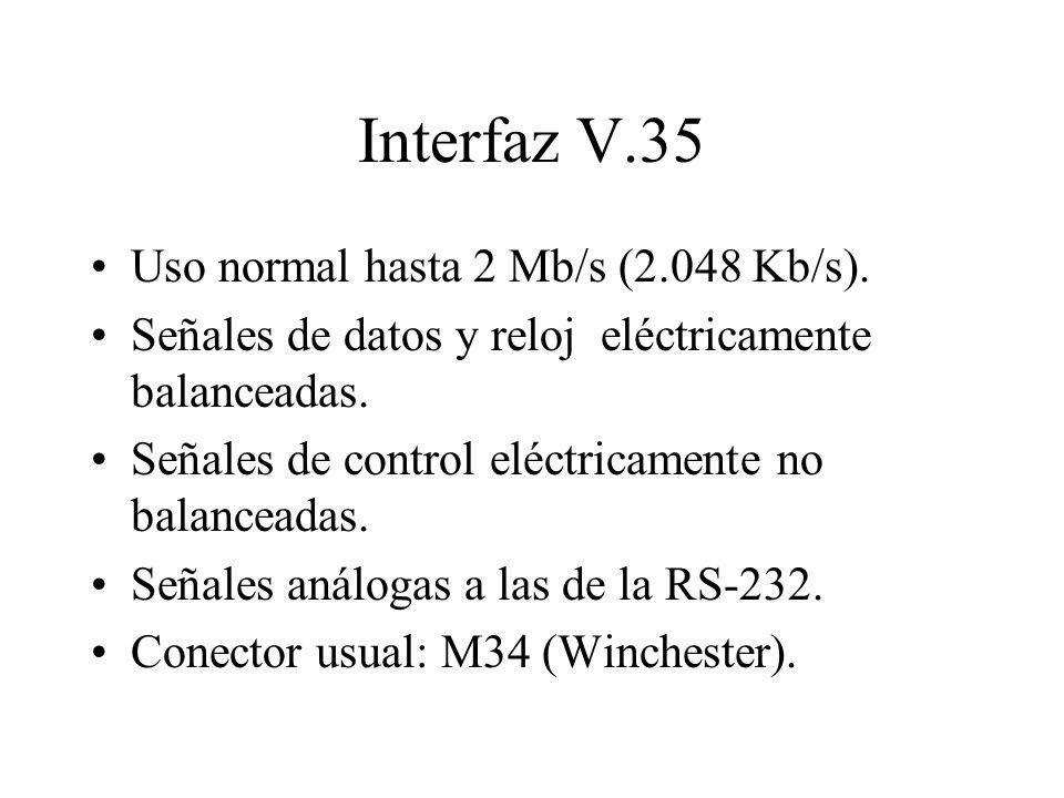 Interfaz V.35 Uso normal hasta 2 Mb/s (2.048 Kb/s). Señales de datos y reloj eléctricamente balanceadas. Señales de control eléctricamente no balancea
