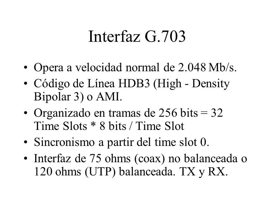Interfaz G.703 Opera a velocidad normal de 2.048 Mb/s. Código de Línea HDB3 (High - Density Bipolar 3) o AMI. Organizado en tramas de 256 bits = 32 Ti