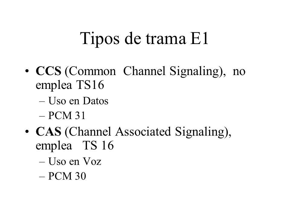 Tipos de trama E1 CCS (Common Channel Signaling), no emplea TS16 –Uso en Datos –PCM 31 CAS (Channel Associated Signaling), emplea TS 16 –Uso en Voz –P