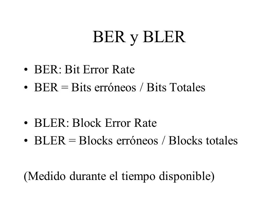 BER y BLER BER: Bit Error Rate BER = Bits erróneos / Bits Totales BLER: Block Error Rate BLER = Blocks erróneos / Blocks totales (Medido durante el ti