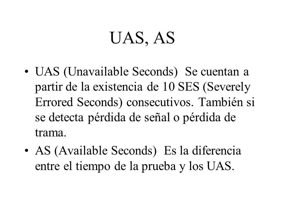 UAS, AS UAS (Unavailable Seconds) Se cuentan a partir de la existencia de 10 SES (Severely Errored Seconds) consecutivos. También si se detecta pérdid