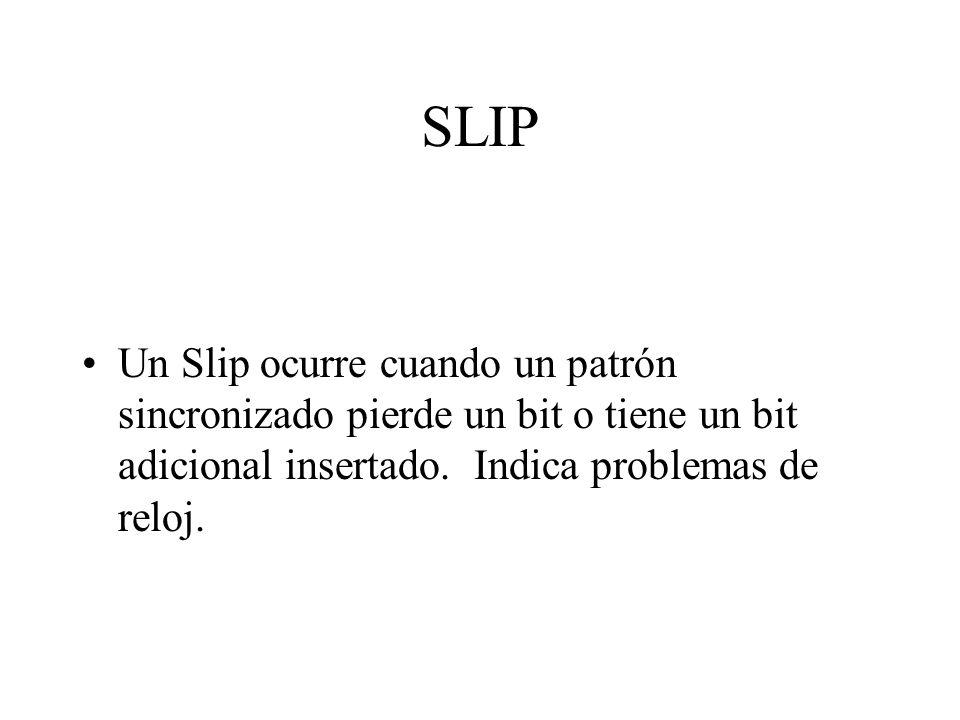 SLIP Un Slip ocurre cuando un patrón sincronizado pierde un bit o tiene un bit adicional insertado. Indica problemas de reloj.