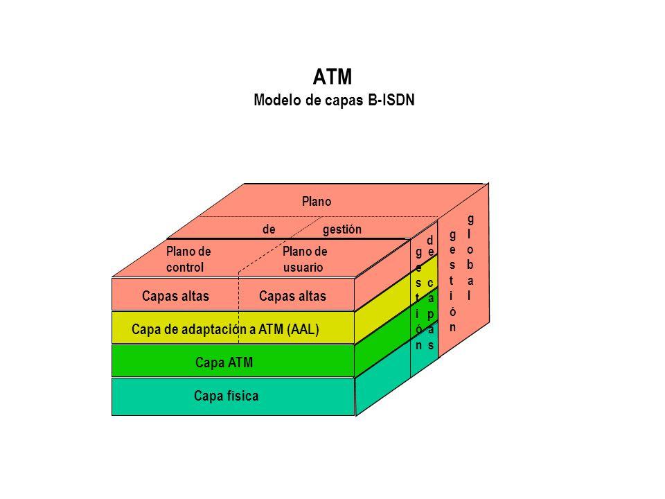 ATM Modelo de capas B-ISDN Plano de gestión Plano de control usuario Capas altas Capas altas Capa de adaptación a ATM (AAL) Capa ATM Capa física g e e