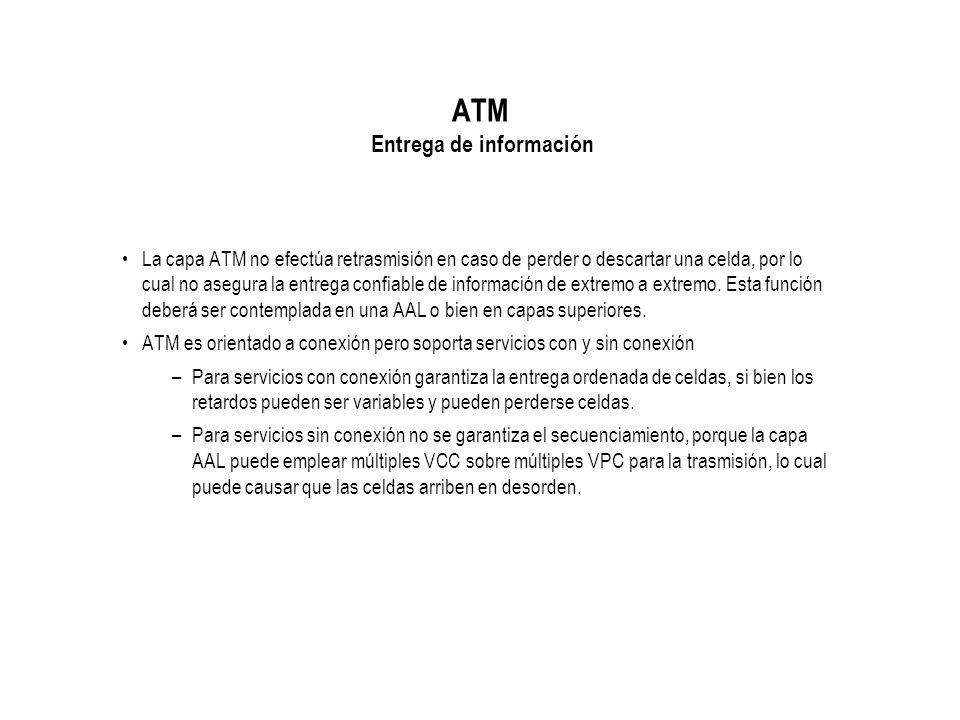 ATM Entrega de información La capa ATM no efectúa retrasmisión en caso de perder o descartar una celda, por lo cual no asegura la entrega confiable de