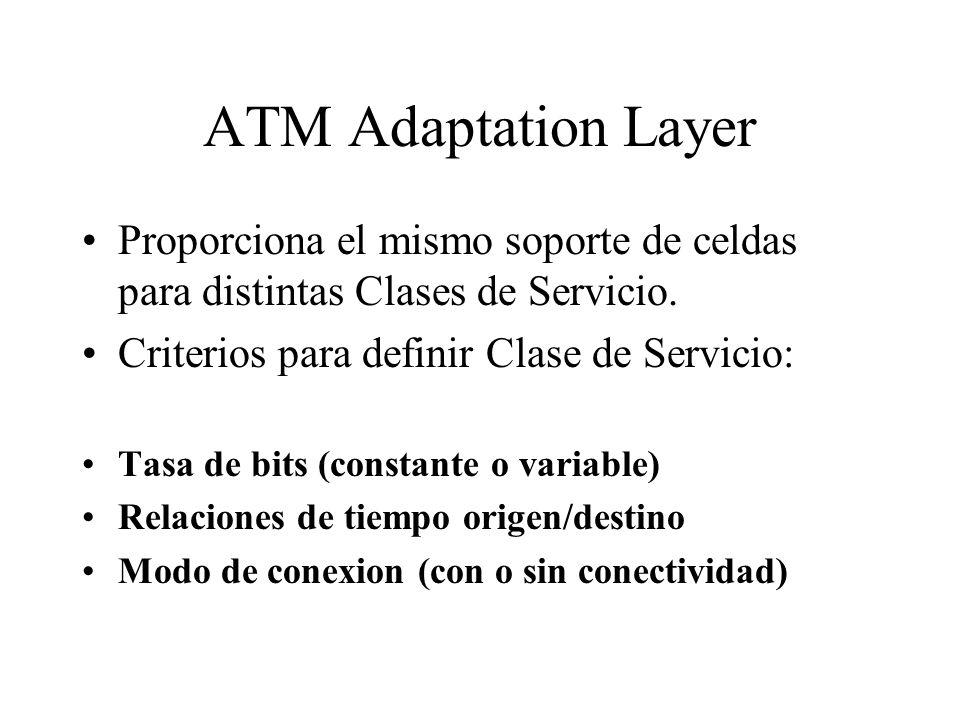 ATM Adaptation Layer Proporciona el mismo soporte de celdas para distintas Clases de Servicio. Criterios para definir Clase de Servicio: Tasa de bits