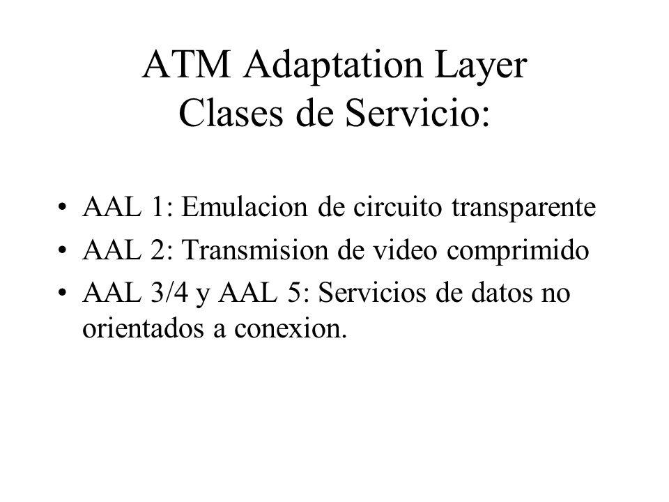 ATM Adaptation Layer Clases de Servicio: AAL 1: Emulacion de circuito transparente AAL 2: Transmision de video comprimido AAL 3/4 y AAL 5: Servicios d