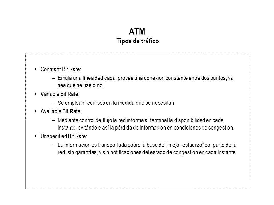 ATM Tipos de tráfico C onstant B it R ate: –Emula una línea dedicada, provee una conexión constante entre dos puntos, ya sea que se use o no. V ariabl