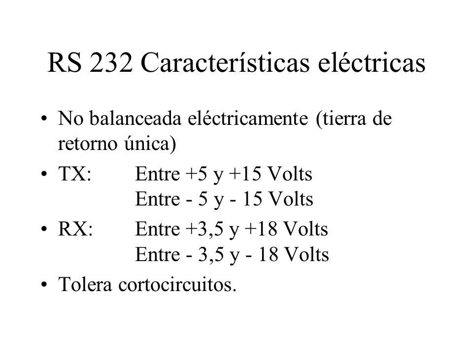 RS 232 Características eléctricas No balanceada eléctricamente (tierra de retorno única) TX: Entre +5 y +15 Volts Entre - 5 y - 15 Volts RX:Entre +3,5