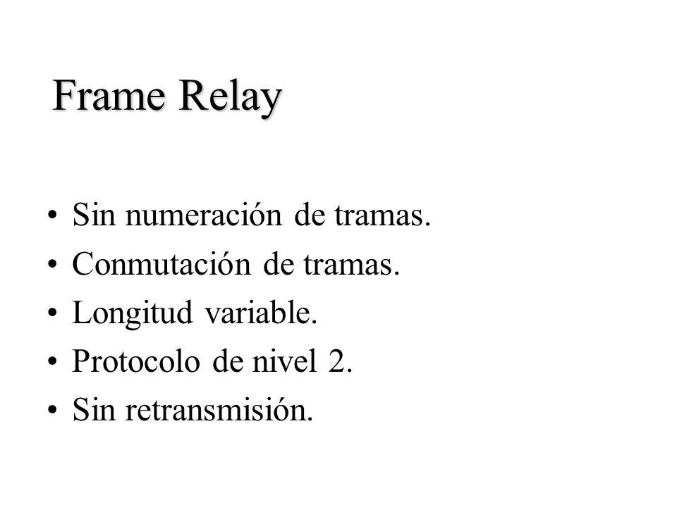 Frame Relay Sin numeración de tramas. Conmutación de tramas. Longitud variable. Protocolo de nivel 2. Sin retransmisión.