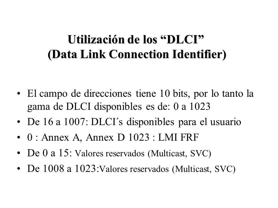 El campo de direcciones tiene 10 bits, por lo tanto la gama de DLCI disponibles es de: 0 a 1023 De 16 a 1007: DLCI´s disponibles para el usuario 0 : A