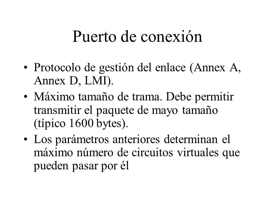 Puerto de conexión Protocolo de gestión del enlace (Annex A, Annex D, LMI). Máximo tamaño de trama. Debe permitir transmitir el paquete de mayo tamaño