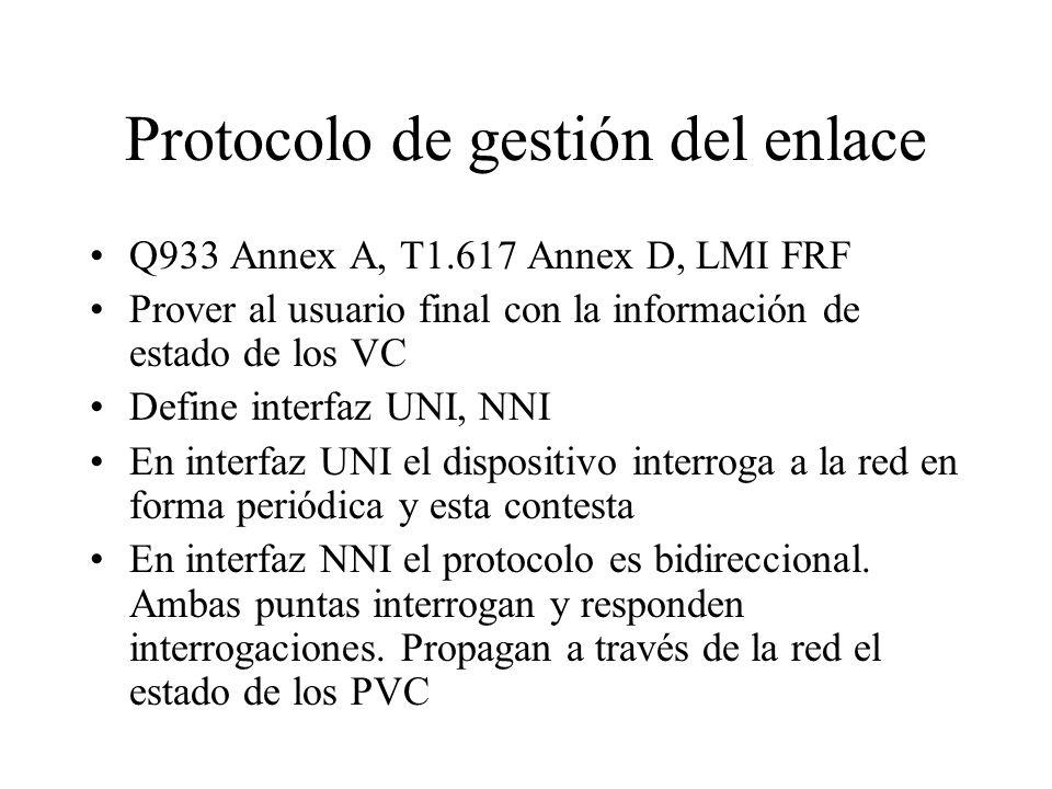 Protocolo de gestión del enlace Q933 Annex A, T1.617 Annex D, LMI FRF Prover al usuario final con la información de estado de los VC Define interfaz U