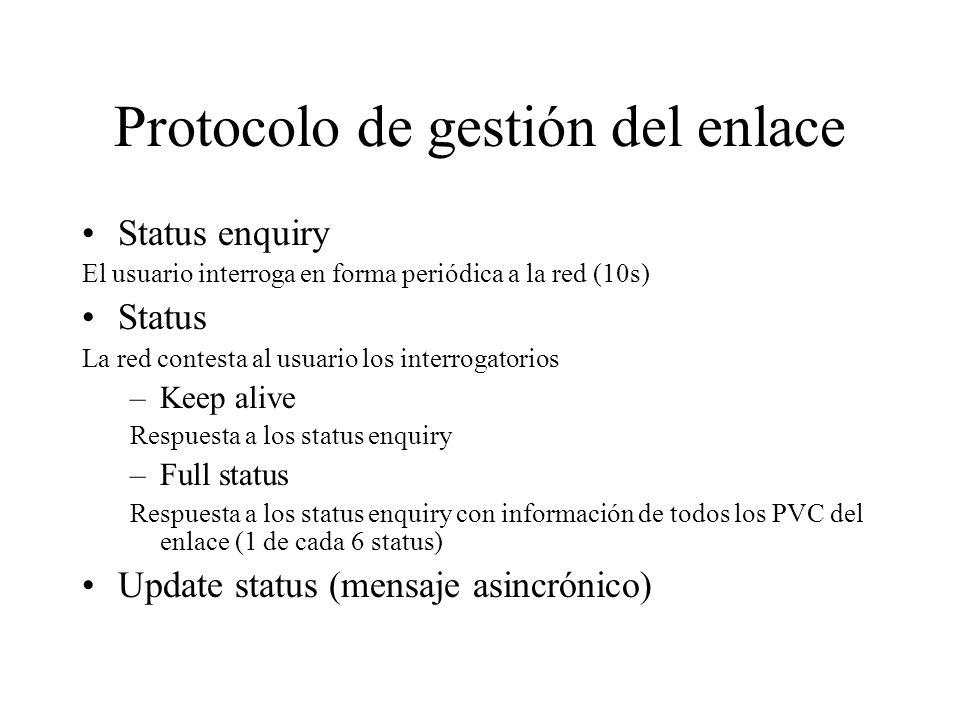 Protocolo de gestión del enlace Status enquiry El usuario interroga en forma periódica a la red (10s) Status La red contesta al usuario los interrogat