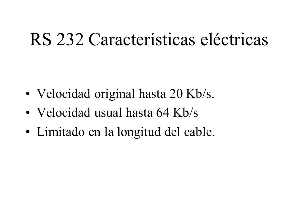 RS 232 Características eléctricas Velocidad original hasta 20 Kb/s. Velocidad usual hasta 64 Kb/s Limitado en la longitud del cable.