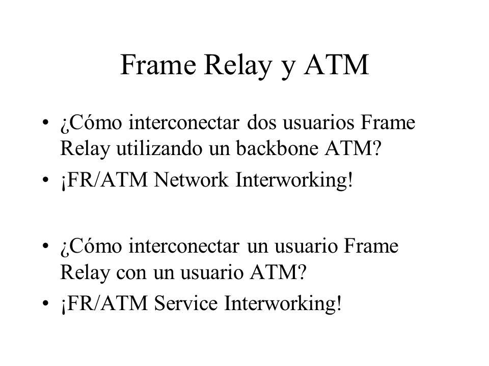 Frame Relay y ATM ¿Cómo interconectar dos usuarios Frame Relay utilizando un backbone ATM? ¡FR/ATM Network Interworking! ¿Cómo interconectar un usuari