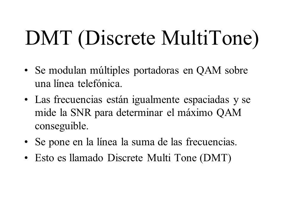 DMT (Discrete MultiTone) Se modulan múltiples portadoras en QAM sobre una línea telefónica. Las frecuencias están igualmente espaciadas y se mide la S