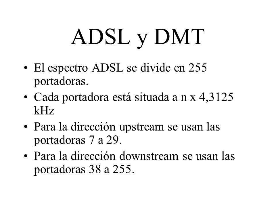 ADSL y DMT El espectro ADSL se divide en 255 portadoras. Cada portadora está situada a n x 4,3125 kHz Para la dirección upstream se usan las portadora