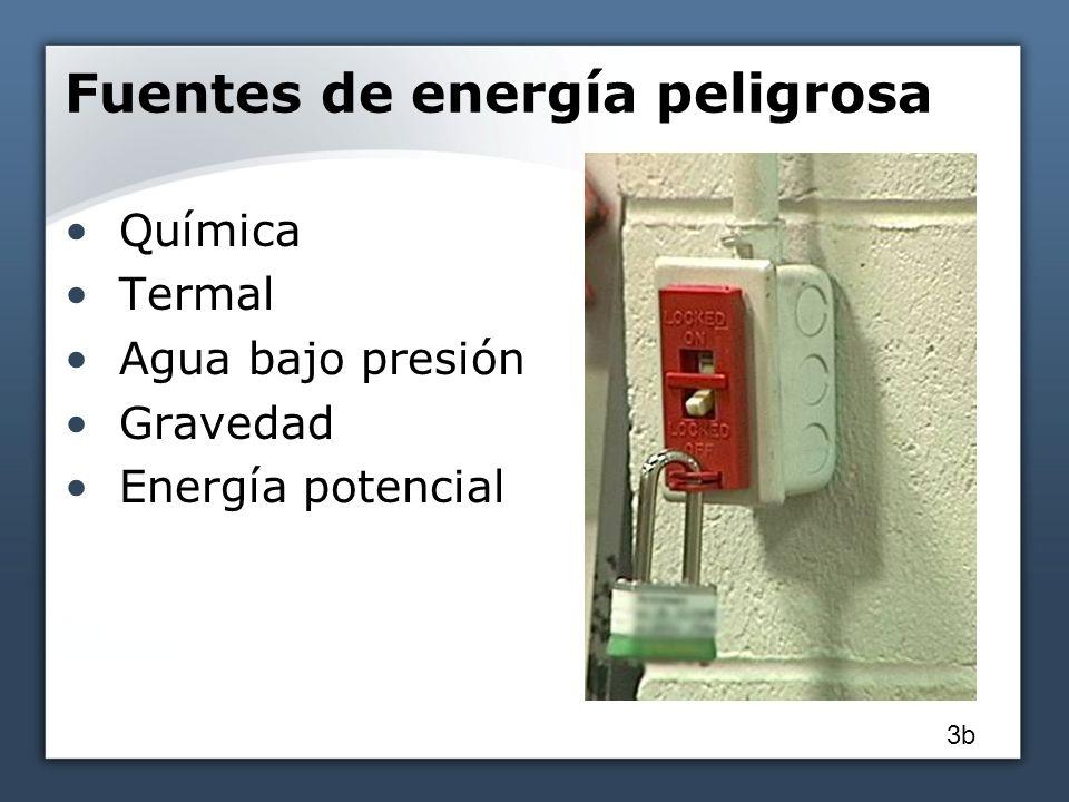 Fuentes de energía peligrosa Química Termal Agua bajo presión Gravedad Energía potencial 3b