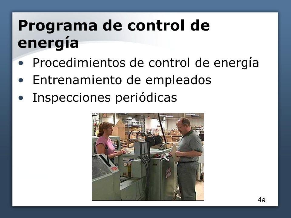 Programa de control de energía Procedimientos de control de energía Entrenamiento de empleados Inspecciones periódicas 4a