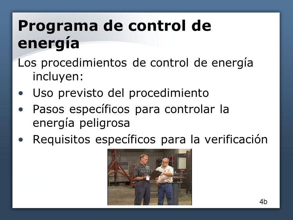Programa de control de energía Los procedimientos de control de energía incluyen: Uso previsto del procedimiento Pasos específicos para controlar la energía peligrosa Requisitos específicos para la verificación 4b