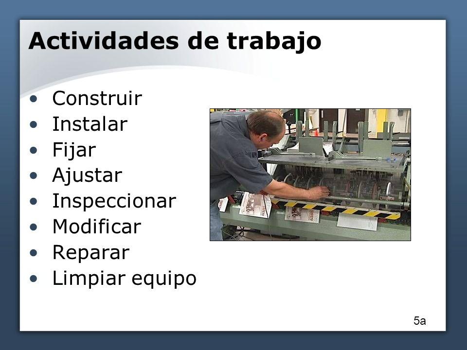 Actividades de trabajo Construir Instalar Fijar Ajustar Inspeccionar Modificar Reparar Limpiar equipo 5a