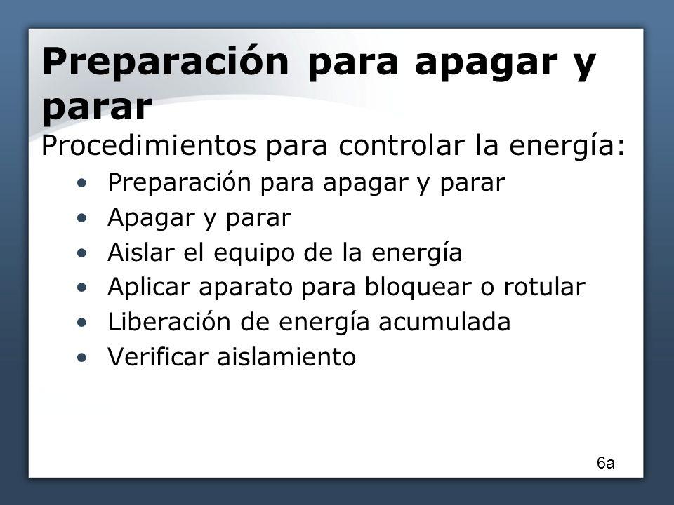 Preparación para apagar y parar Procedimientos para controlar la energía: Preparación para apagar y parar Apagar y parar Aislar el equipo de la energí