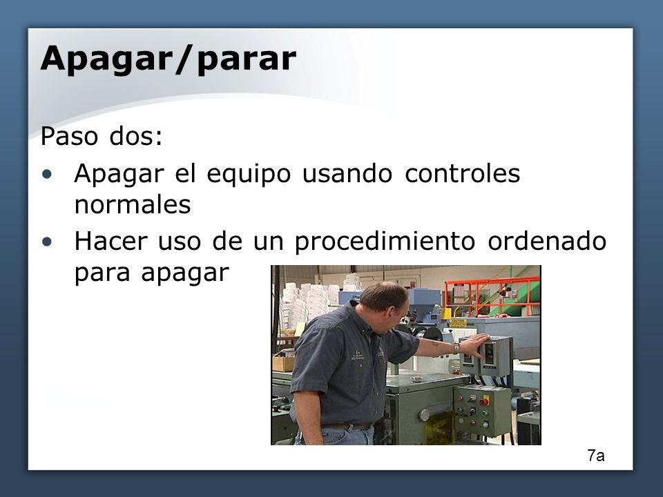 Apagar/parar Paso dos: Apagar el equipo usando controles normales Hacer uso de un procedimiento ordenado para apagar 7a